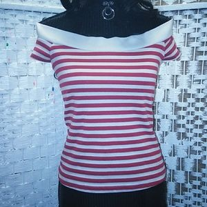 BETTIE PAGE RED & WHITE STRIPE TOP